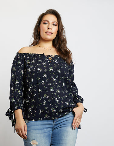 Plus Size Emma Floral Off The Shoulder Top
