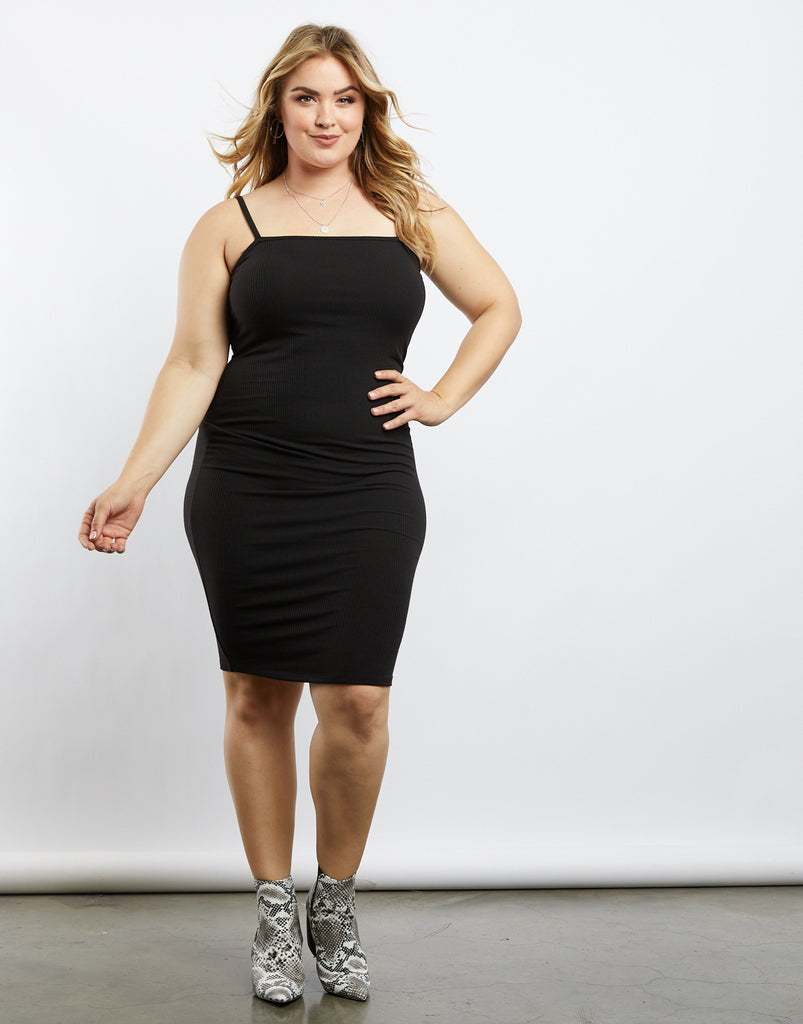 Curve Everyday Cami Bodycon Dress Plus Size Dresses Black 1XL -2020AVE