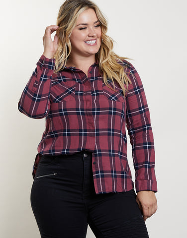 Plus Size Fall Back Plaid Top