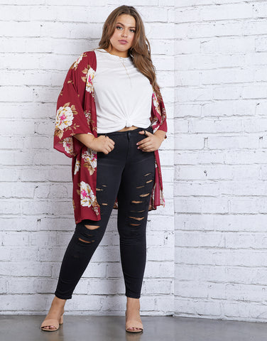 Plus Size Fall Beauty Floral Cardigan
