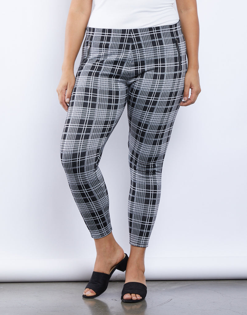 Curve Feelin' Fine Plaid Leggings Plus Size Bottoms -2020AVE