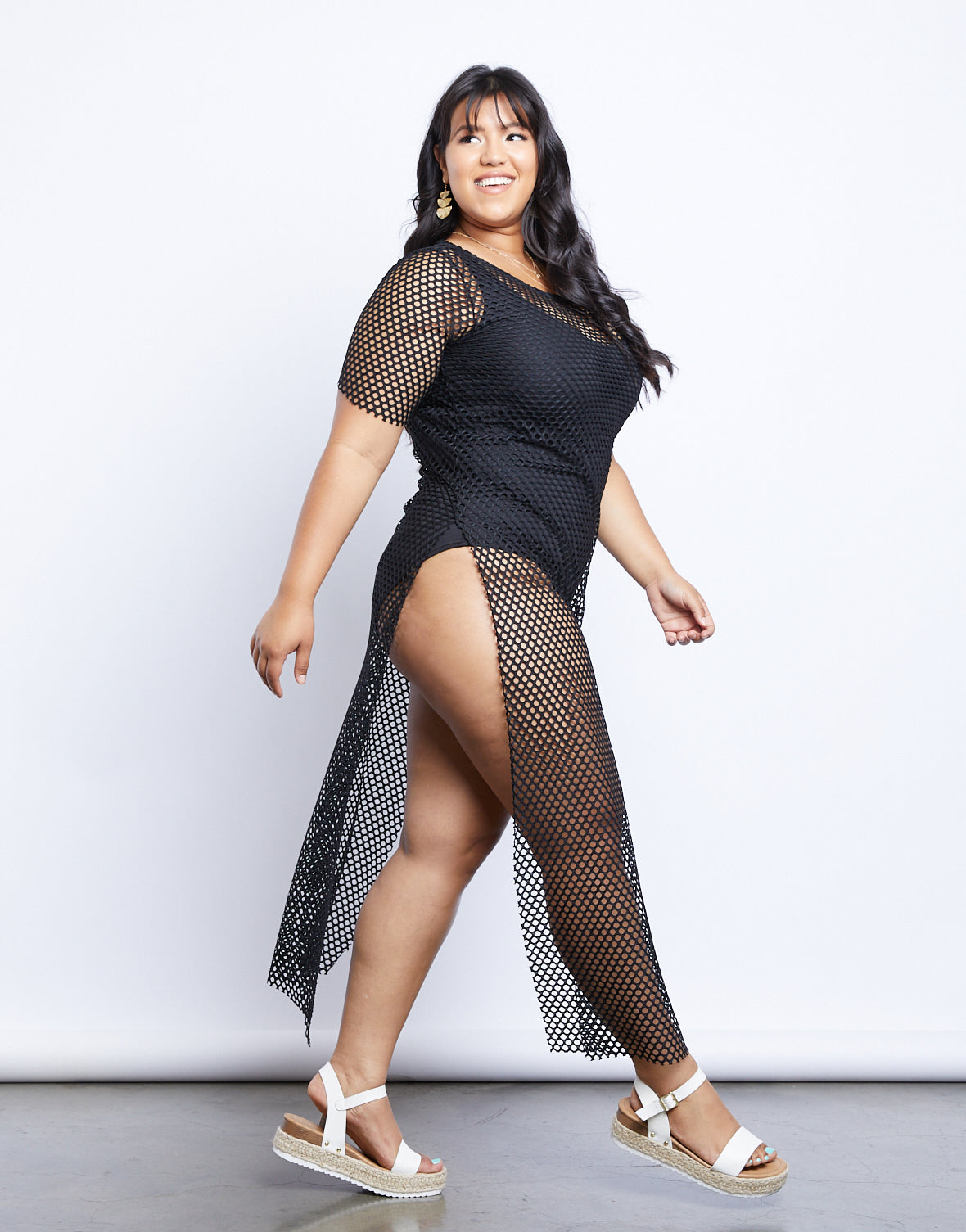 Plus Size Fishnet T-shirt Dress