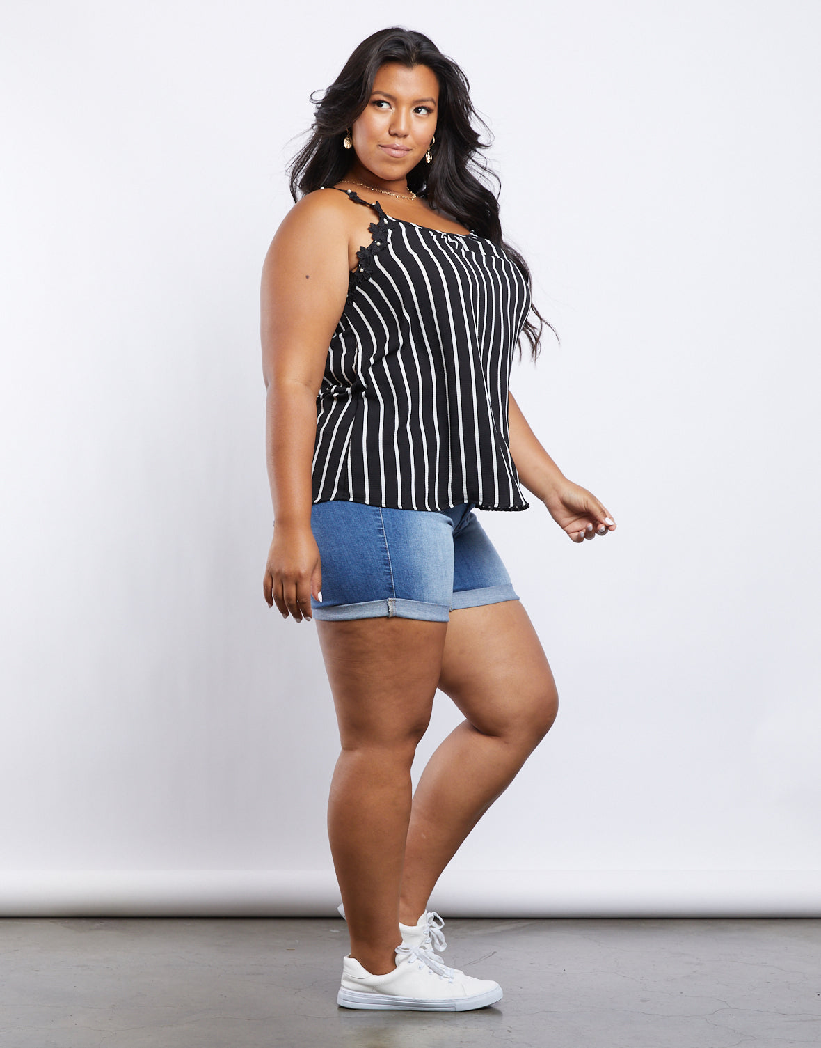 Plus Size Floral And Stripes Tank