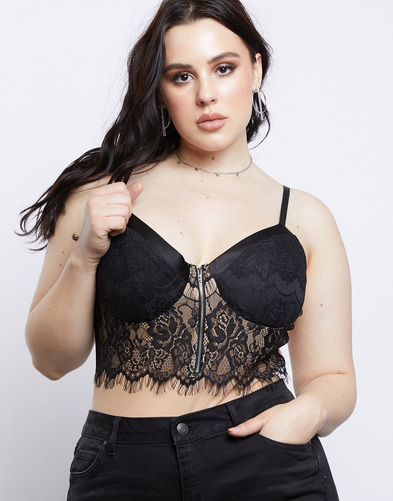 Curve Floral Lace Bodysuit Plus Size Tops Nude 1XL -2020AVE