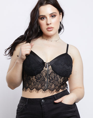Plus Size Floral Lace Bodysuit