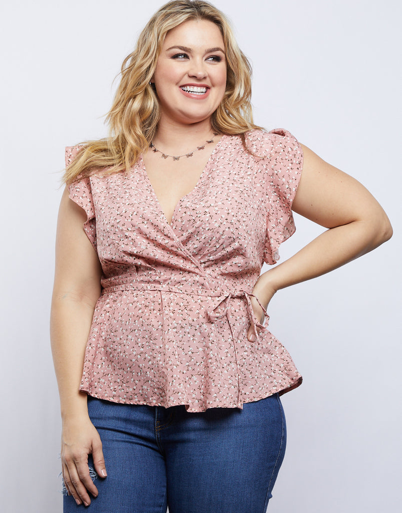 Curve Floral Peplum Top Plus Size Tops -2020AVE
