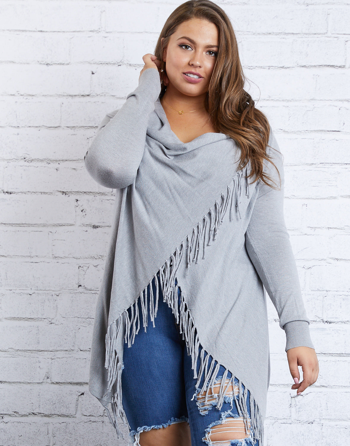 Plus Size Fringe Draped Sweater