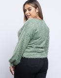 Plus Size Fuzzy Twist Sweater