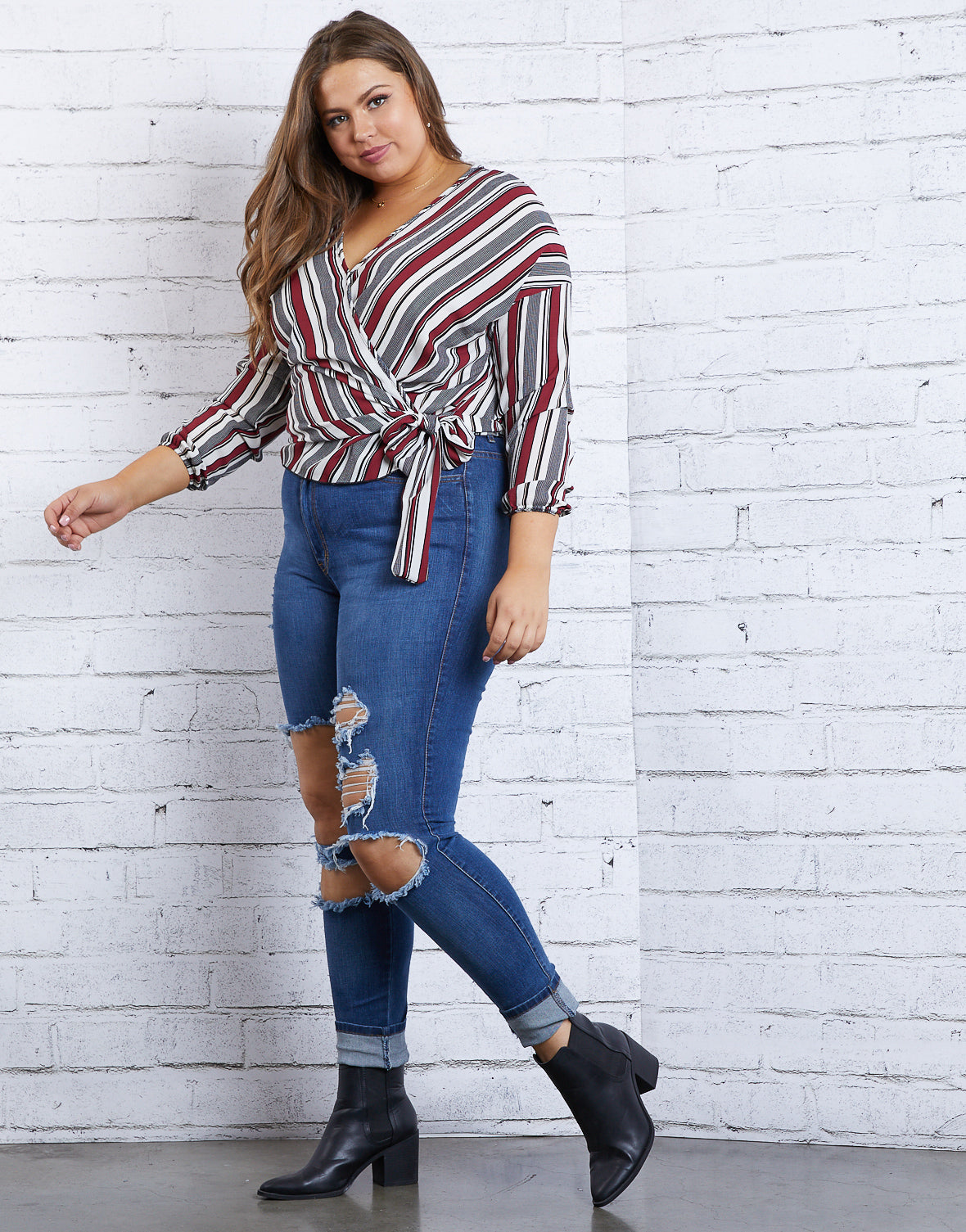 Plus Size Happy Hour Striped Top