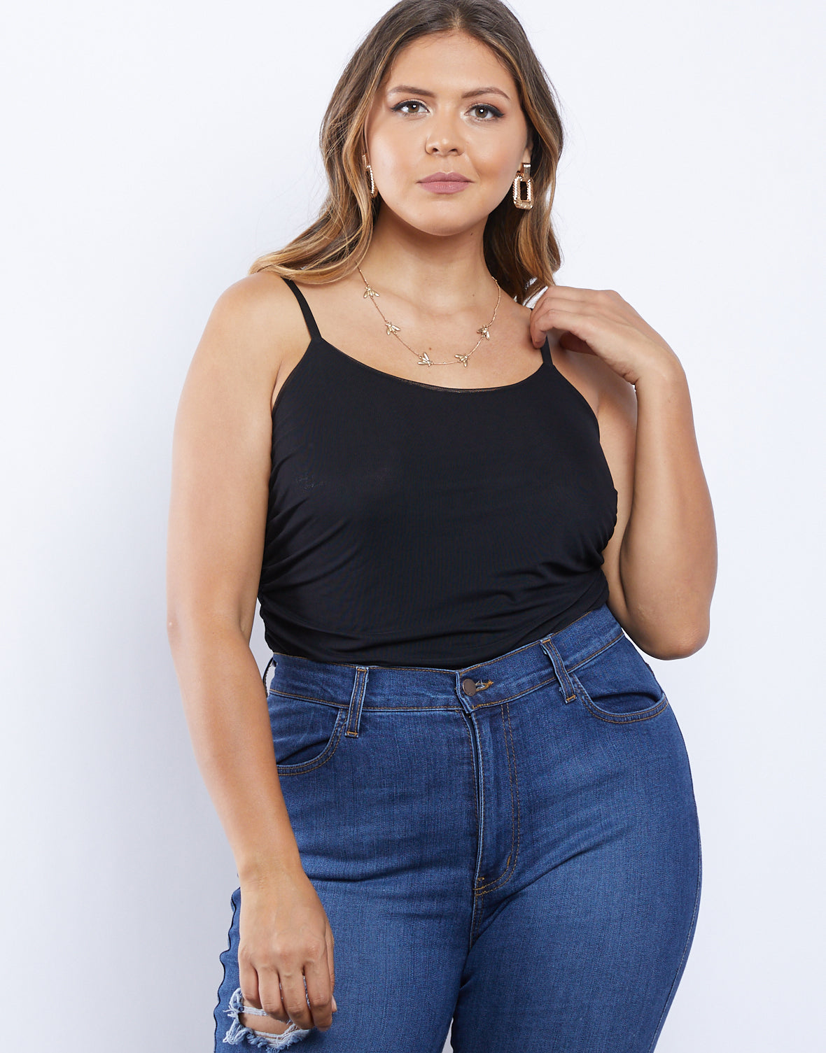 Plus Size Izzi Ruched Mesh Tank