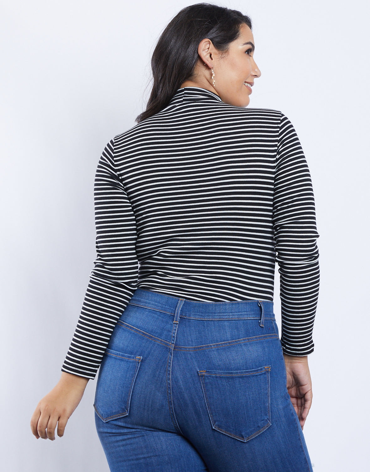 Plus Size Izzy Striped Mock Neck Bodysuit