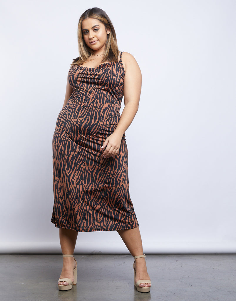Curve Jeanette Tiger Print Midi Dress Plus Size Dresses -2020AVE