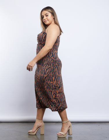 Plus Size Jeanette Tiger Print Midi Dress