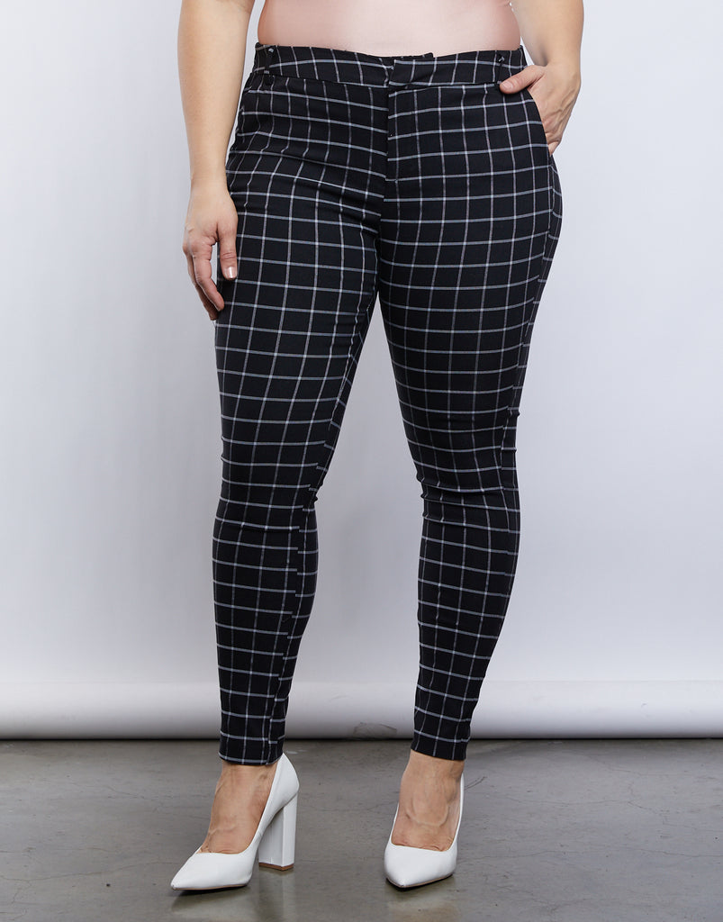 Curve Jessie Grid Pants Plus Size Bottoms -2020AVE