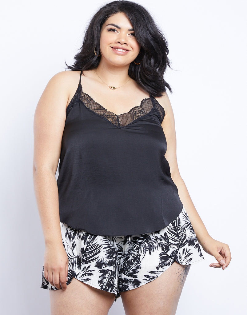 Curve Kai Lace Trim Cami Plus Size Tops Black 1XL -2020AVE