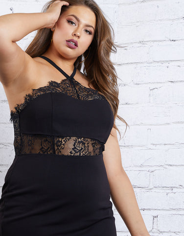 Plus Size Lace Cut Out Dress