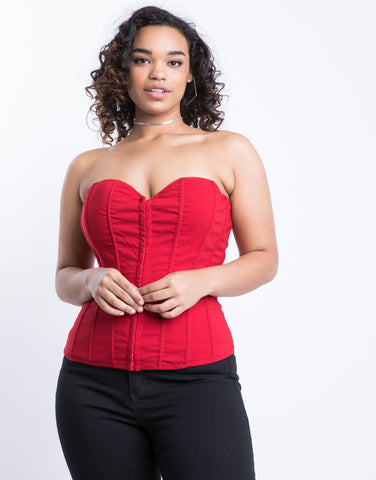 Plus Size Lace Me Up Corset Top