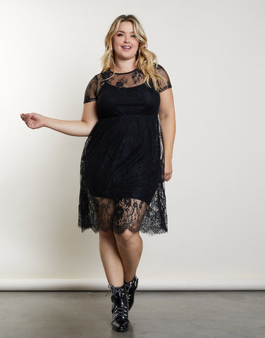 Plus Size Lace Slip Dress
