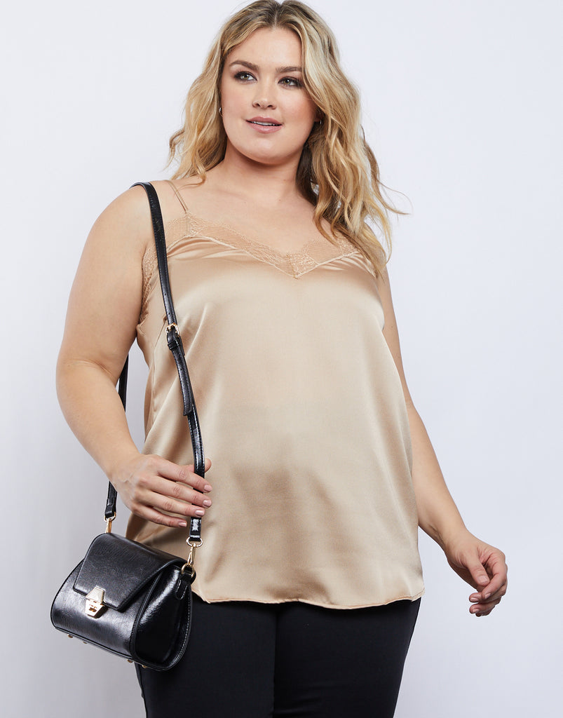 Curve Lace Trim Tank Plus Size Tops -2020AVE