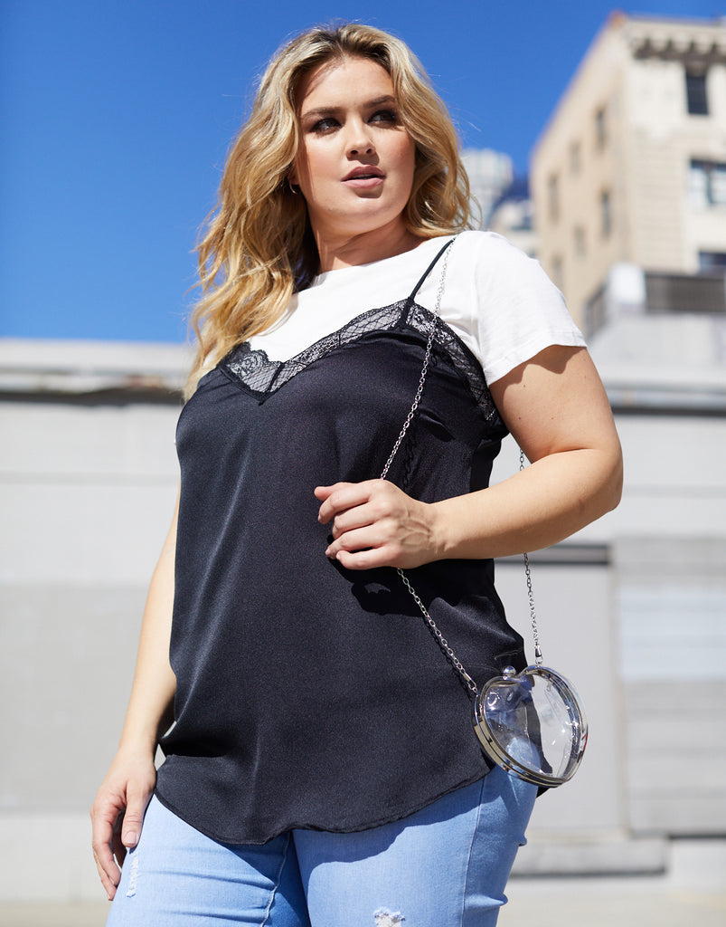 Curve Lace Trim Tank Plus Size Tops Black 1XL -2020AVE