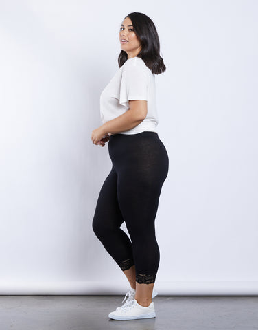 Plus Size Lace Trimmed Leggings