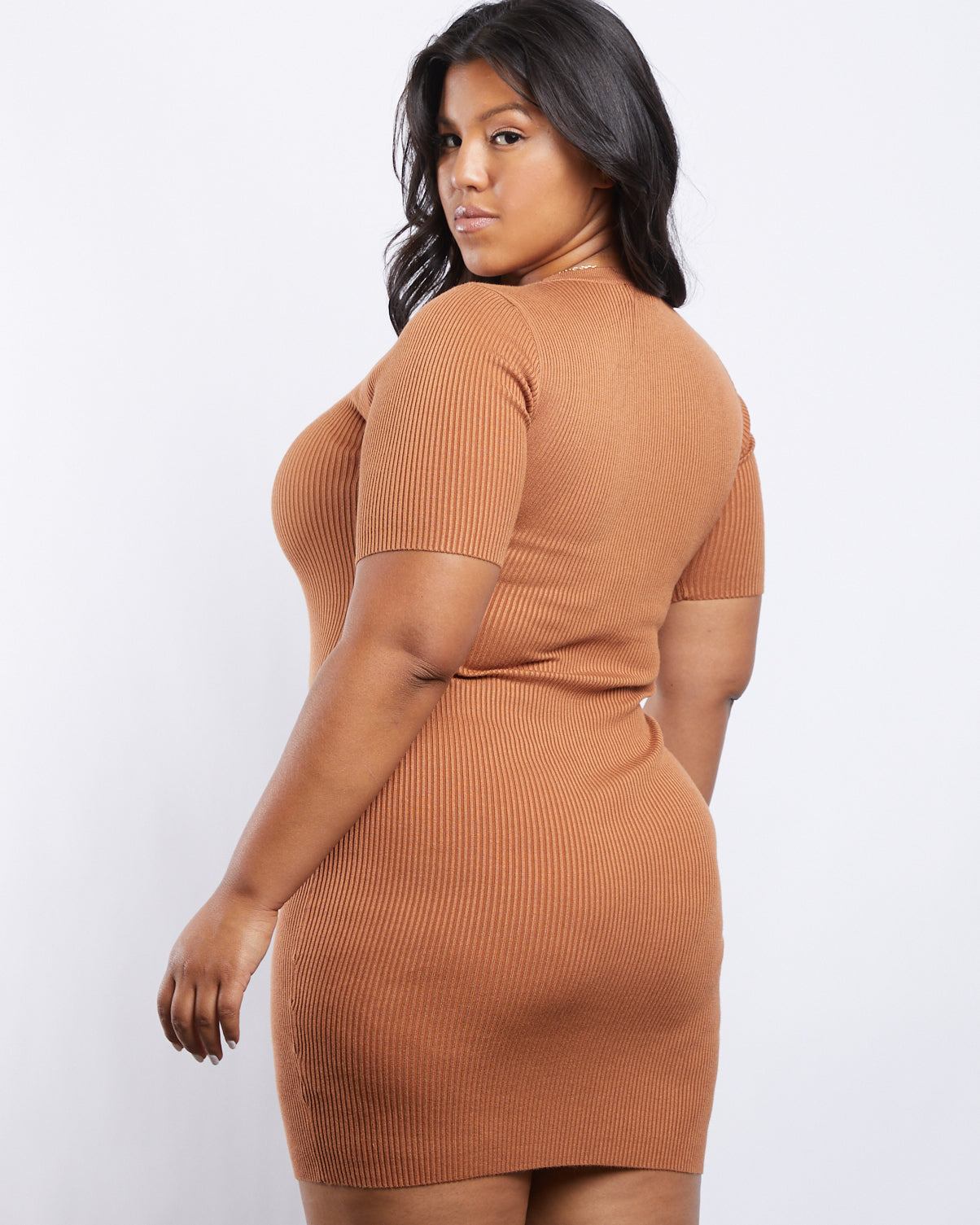 Plus Size Lace Up Ribbed Knit Dress