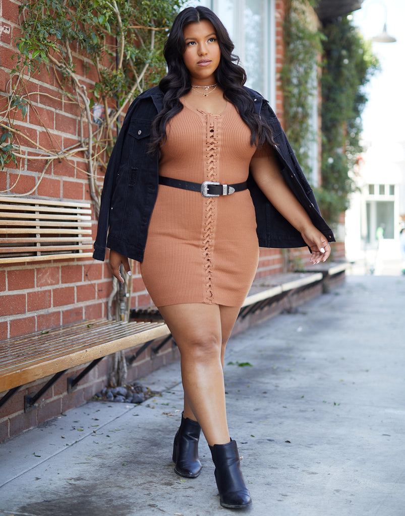 Curve Lace Up Ribbed Knit Dress Plus Size Dresses -2020AVE