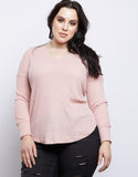 Plus Size Lace Em' Up Waffle Knit Top
