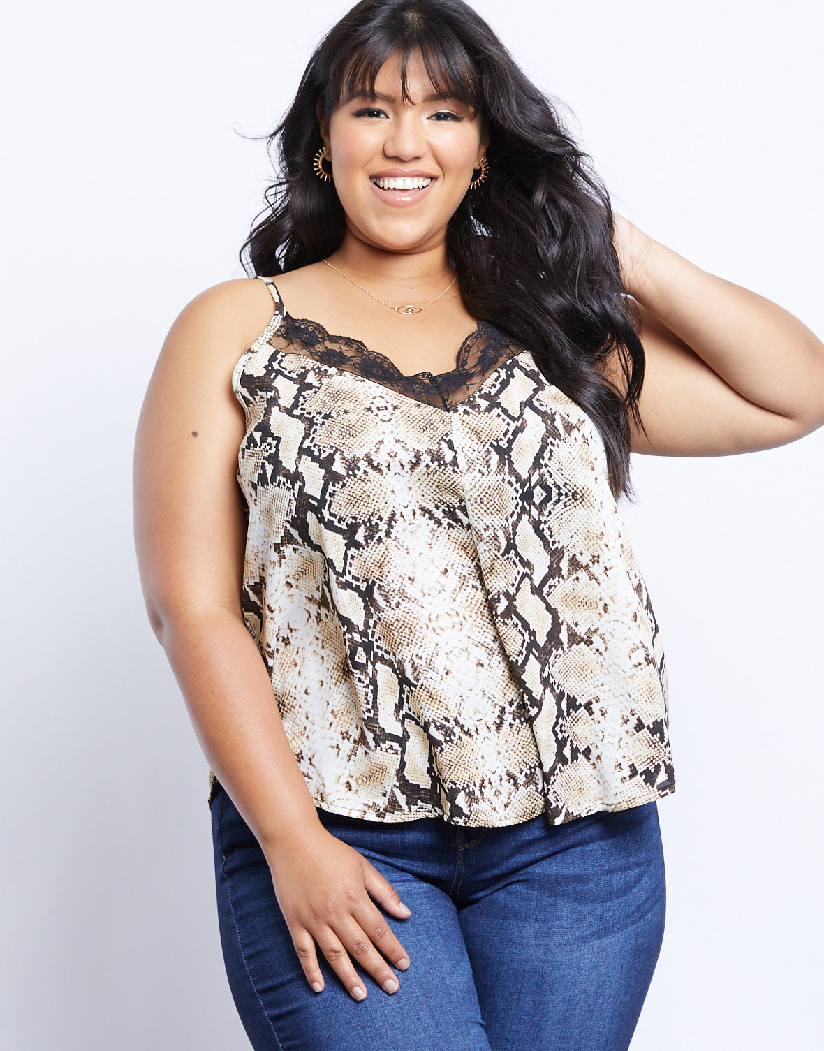 Plus Size Lacey Snake Print Cami