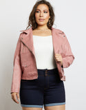 Plus Size Leather Biker Jacket