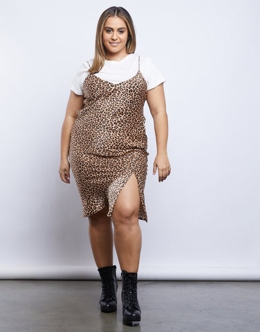 Plus Size Leopard Slip Dress