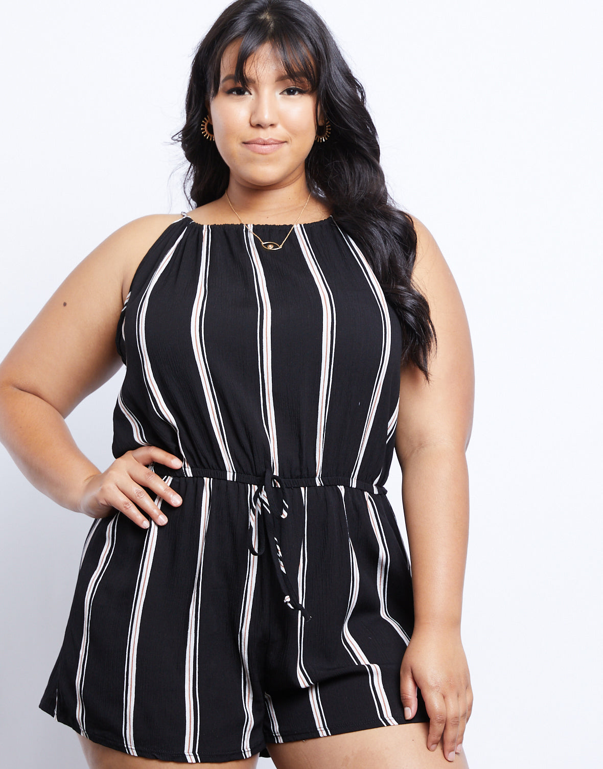 Plus Size Let's Hit The Road Striped Romper