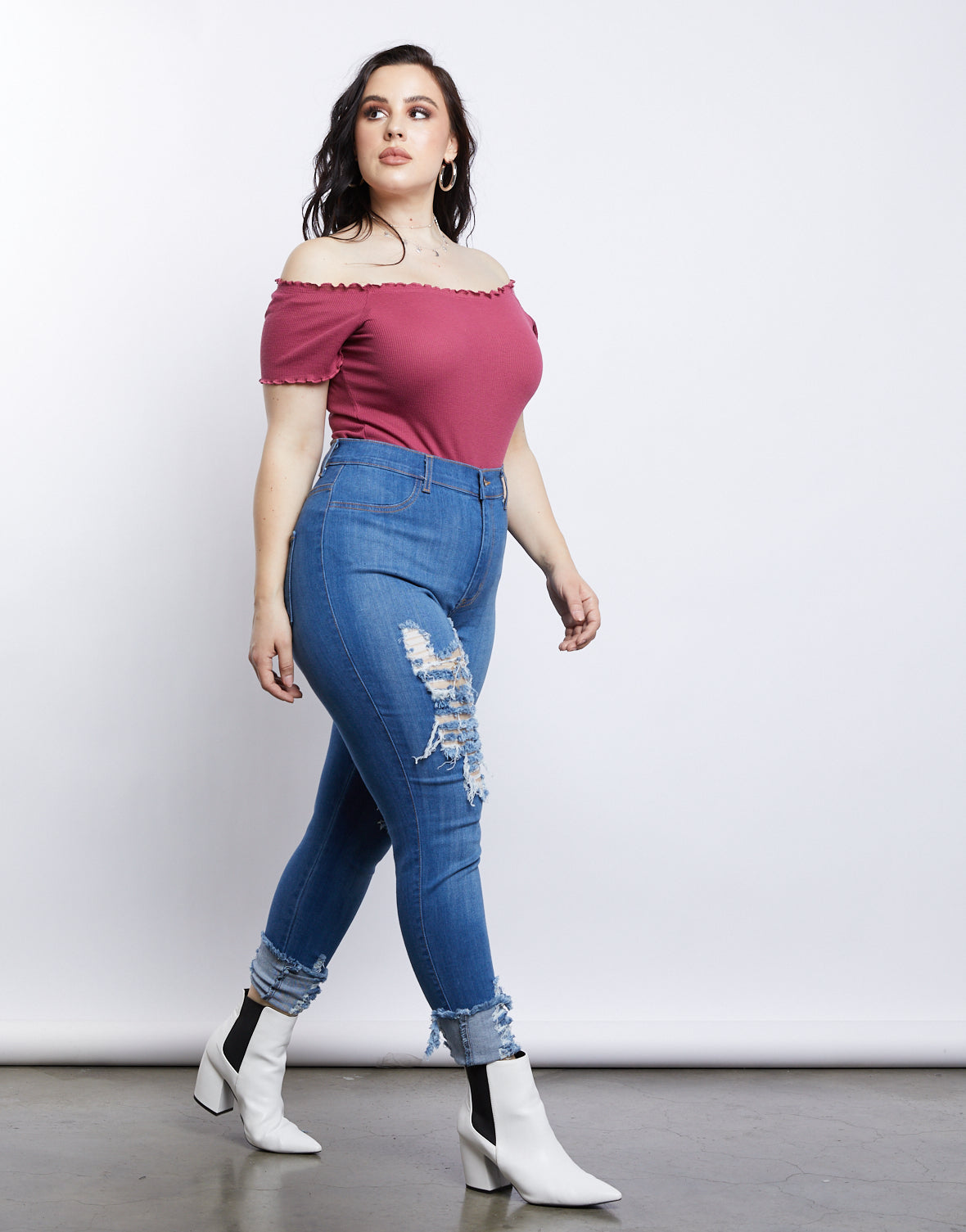 Plus Size Lettuce Edge Crop Top