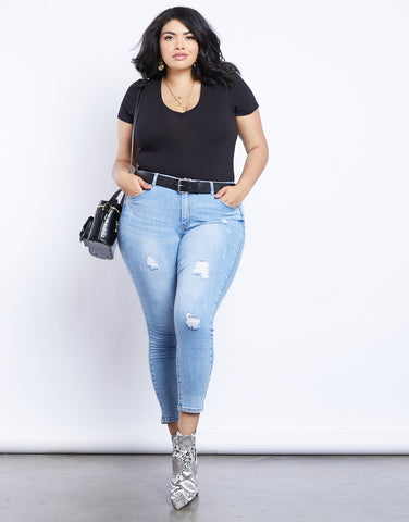 Plus Size Light And Easy Distressed Jeans