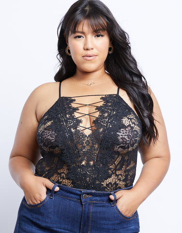 Plus Size Little Secret Lace Bodysuit