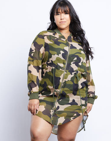 Plus Size Long Camo Bomber Jacket