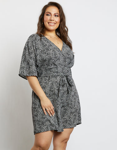 Plus Size Love Crush Black Floral Print Romper