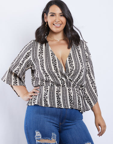 Plus Size Lucille Mock Wrap Blouse