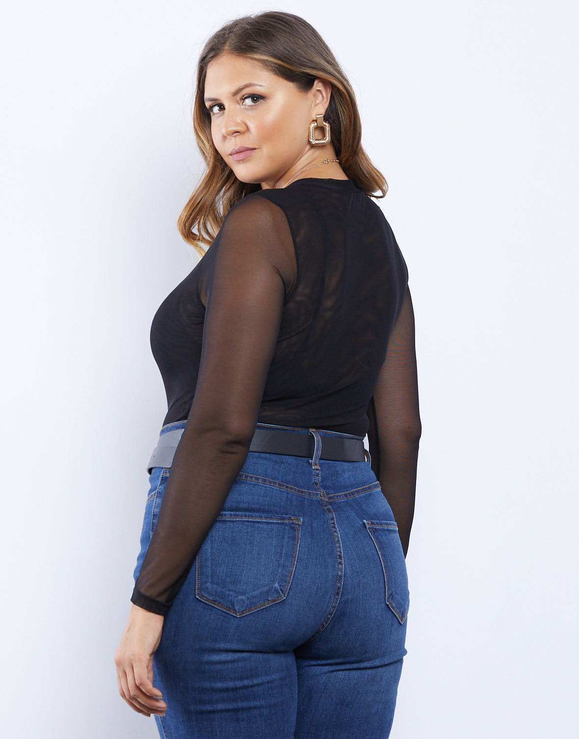 Plus Size Matilda Mesh Long Sleeve Top