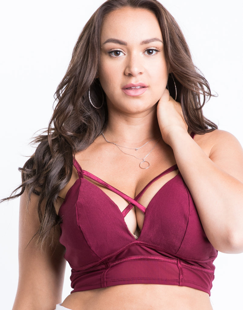 Curve Mesh Criss Cross Bralette Plus Size Intimates Wine 1XL -2020AVE