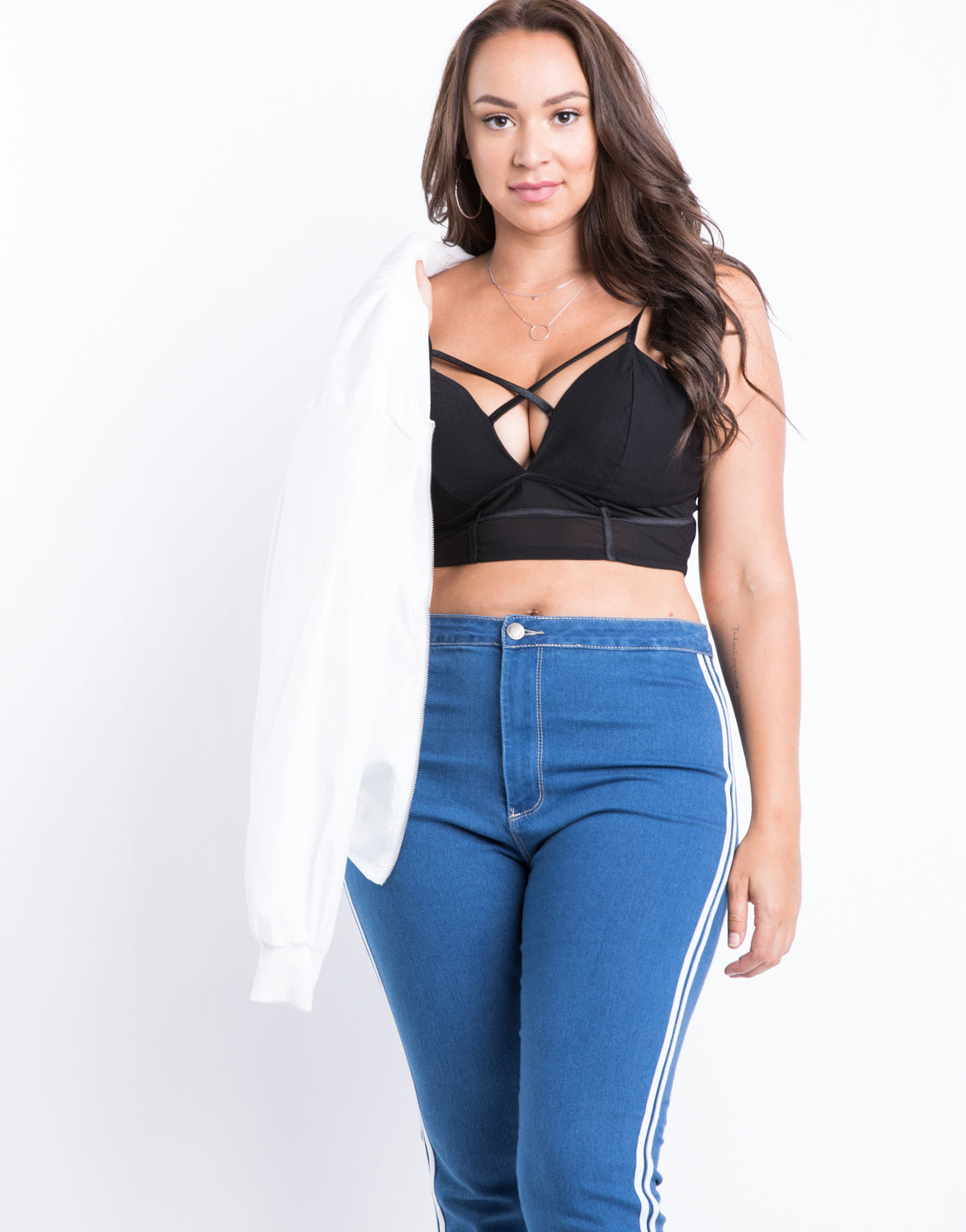 Plus Size Mesh Criss Cross Bralette