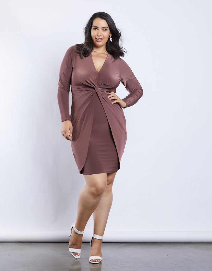 Curve Mia Twist Dress Plus Size Dresses Plum 1XL -2020AVE