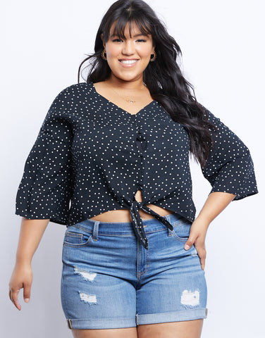 Plus Size Midnight Dreams Polka Dot Blouse