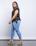 Plus Size Midnight Floral Blouse