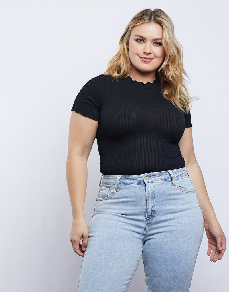 Curve Mock Neck Top Plus Size Tops -2020AVE
