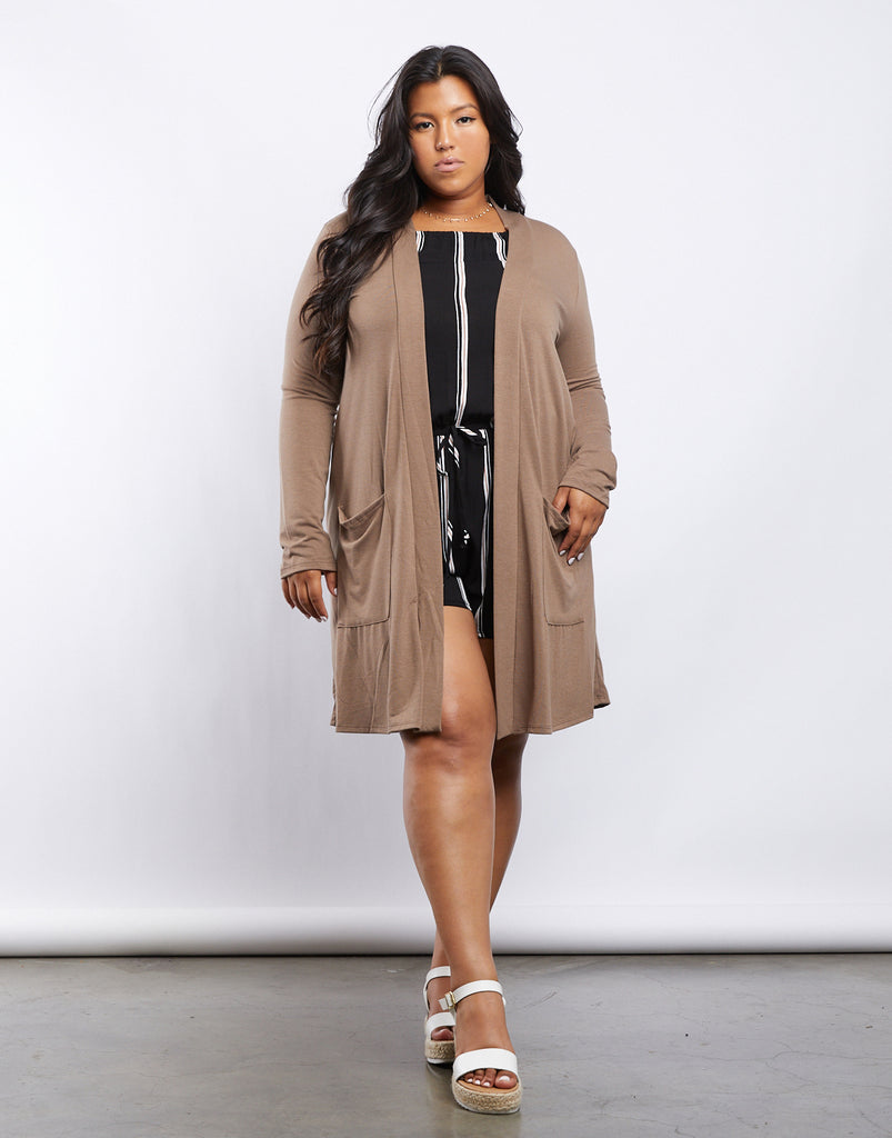 Curve Monica Knit Cardigan Plus Size Outerwear Mocha 1XL -2020AVE