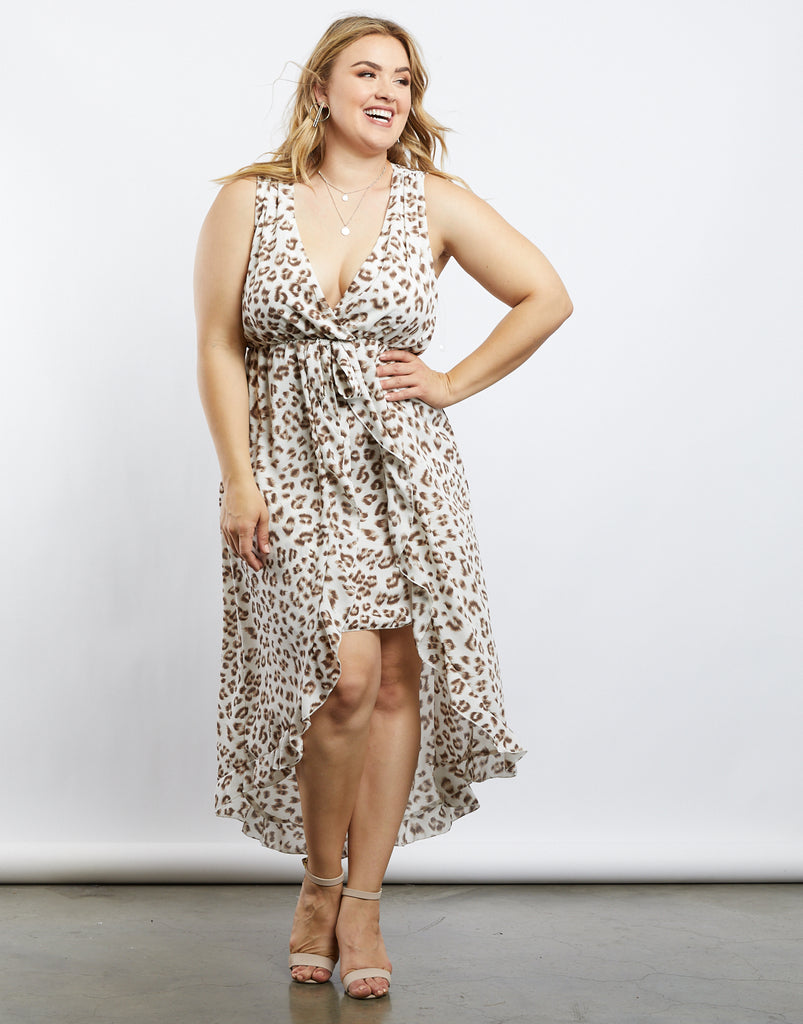 Curve Naomi Leopard Chiffon Dress Plus Size Dresses Brown 1XL -2020AVE