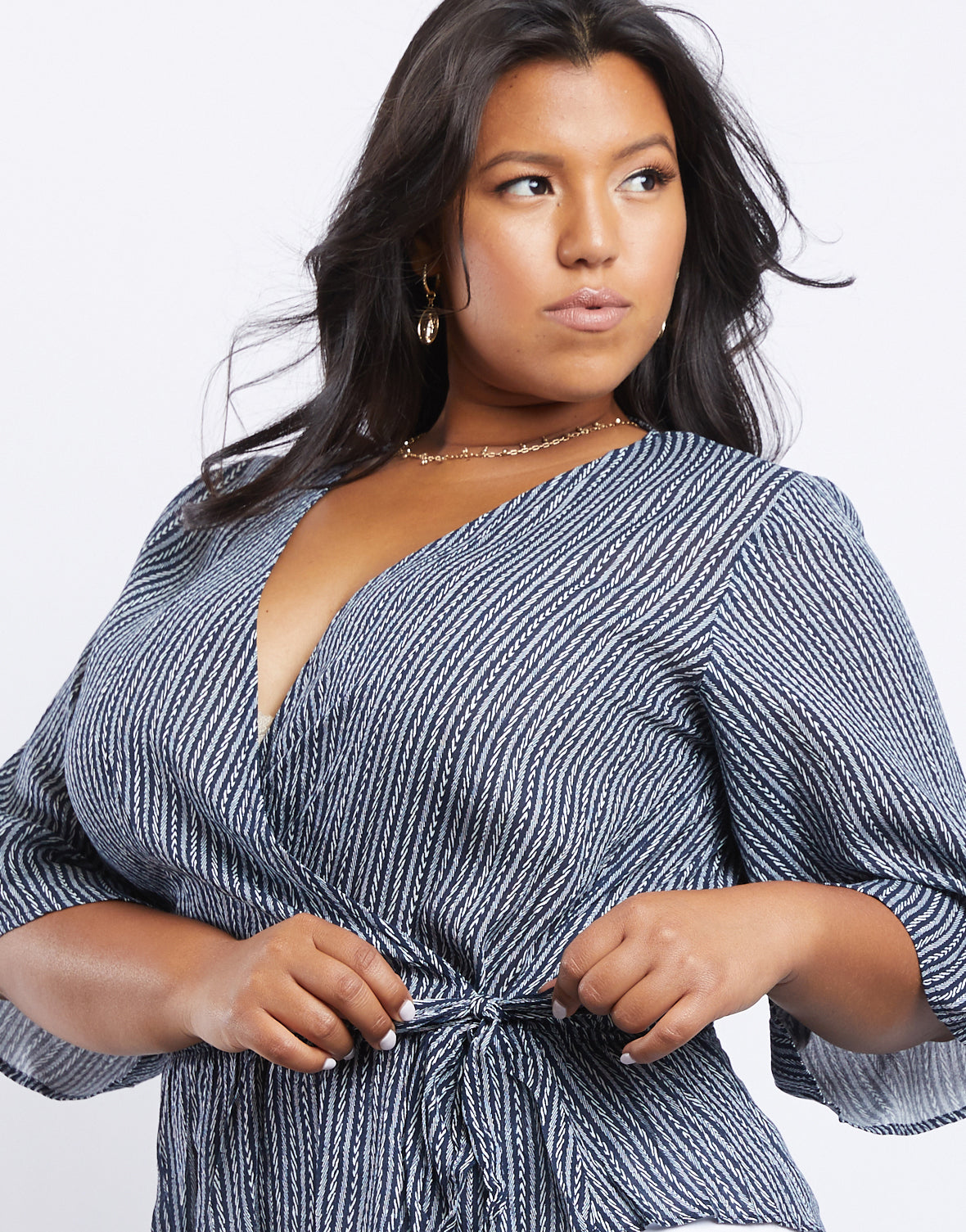 Plus Size Navy Surplice Top
