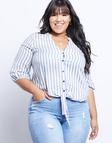 e77c8b445 Plus Size Ocean Waves Striped Blouse