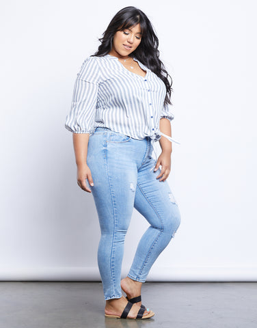 Plus Size Ocean Waves Striped Blouse